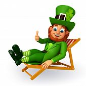 leprechaun for patrick's day sitting on the chair
