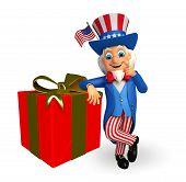 Uncle Sam with gift box