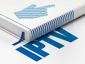 Web development concept: book Mouse Cursor, IPTV on white background