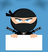 Angry Ninja Character Over Blank Sign Flat Design