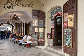 Prague Shops And Restaurants Situated In Historic Center Little Quarter With Relaxing Tourists.