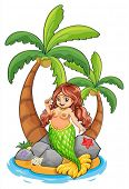 Illustration of an island with a mermaid on a white background