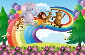 stock photo of hilltop  - Illustration of a group of animals at the rainbow - JPG