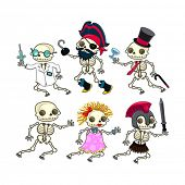 Group of funny skeletons. Vector isolated characters.