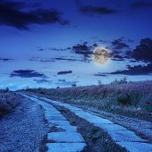 Road Of Concrete Slabs Uphill To The Night Sky