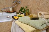 spa in home bathroom with handmade herbal soap