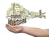 Concept or conceptual abstract business advertising and marketing word cloud or wordcloud in man or