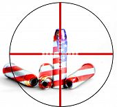 Closeup of tactical military bullets with crosshairs for opposition to gun freedom and second amendment rights