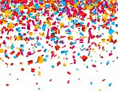 Colorful celebration background with confetti. Vector Illustration.