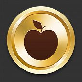 Apple Icons on Gold Button Collection