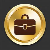 Brief Case Icons on Gold Button Collection