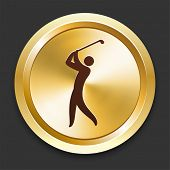 Golf Icons on Gold Button Collection