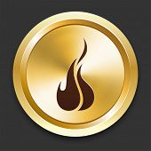 Fire Icons on Gold Button Collection