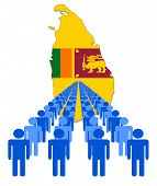 Lines of people with Sri Lanka map flag vector illustration