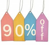 Ninety Percent Off Sale Colorful Tags