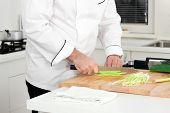 Chef Cutting Leek
