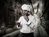 Chef With Cognac And Cigar Smoking