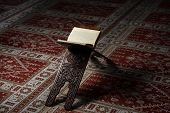 stock photo of quran  - Quran Holy Book Of Muslims In Mosque - JPG