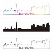 Buenos Aires Skyline Linear Style With Rainbow