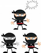 Angry Ninja Warrior Characters 2 Flat Design  Collection Set