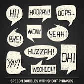 Hand Drawn Speech Bubble Set With Short Phrases