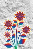 image of organist  - an images of  Flowers design on crumpled paper - JPG
