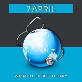 World health day concept with globe and stethoscope on blue and black background.