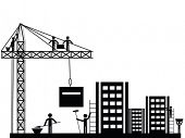 Happy Labor Day celebrations flyer, poster or banner design with view of a worker working at construction site.