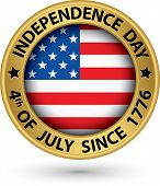Usa Indpendence Day The 4Th Of July Gold Label, Vector Illustration