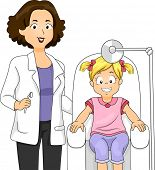 Illustration of a Little Girl Sitting on a Dental Chair with Her Dentist Beside Her