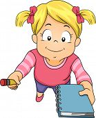 Illustration of a Little Girl Holding a Pencil and Notebook and Asking Someone to Write Something fo