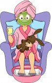 Illustration of a Little Girl at a Spa Wearing a Facial Mask