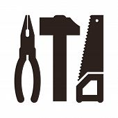 Pliers, Hammer And Saw Icon