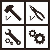 Pliers, Hammer, Wrench And Gears Icons