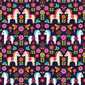 picture of pony  - Seamless Matryoshka folklore pony illustration retro horse pattern background in vector - JPG