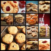 Collage showing different kind of cookies  like, gingerbread, chocolate chip it, biscotti etc