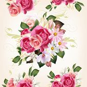Floral Seamless Pattern With Roses And Flowers