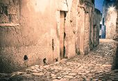 picture of sassy  - sassi the historic center of the city Matera in Italy details of old street - JPG