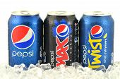 Can of Pepsi, Pepsi Max and Pepsi Twist drink on ice