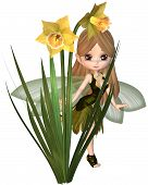 Cute Toon Daffodil Fairy, Skipping