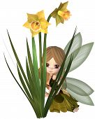 Cute Toon Daffodil Fairy, Hiding