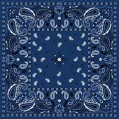 Blue Paisley Bandana Pattern