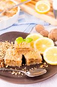 picture of baklava  - Turkish traditiona sweet baklava cake stuffed with walnuts - JPG