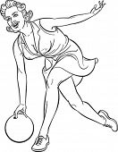 Pretty girl playing bowling. Outline drawing. Editable vector illustration.