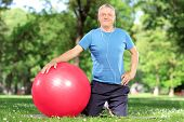 Mature man with an exercise ball in a park