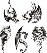 Set Of Black And White Dragons