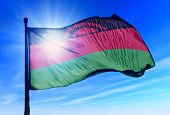 Malawi flag waving on the wind