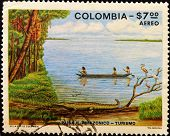 COLOMBIA - CIRCA 1979: A stamp printed in colombia shows Amazonian landscape circa 1979