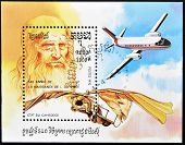 CAMBODIA - CIRCA 1992: A stamp printed in Cambodia dedicated to Leonardo da Vinci