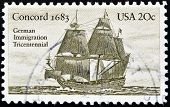 UNITED STATES OF AMERICA - CIRCA 1983 : A stamp printed in the USA shows Concord 1683